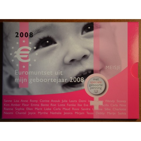 Sada 8 mincí Holandsko 2008 Baby set - Dievčatko (UNC)
