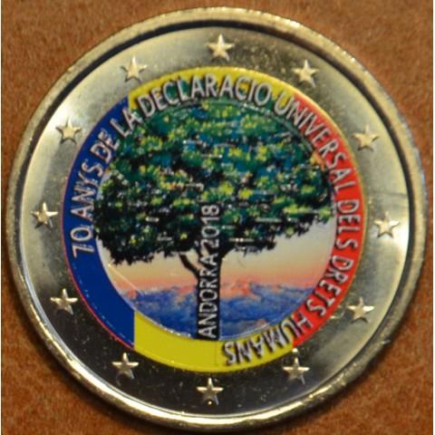 2 Euro Andorra 2018 - 70. výročie Všeobecnej deklarácie ľudských práv (farebná UNC)