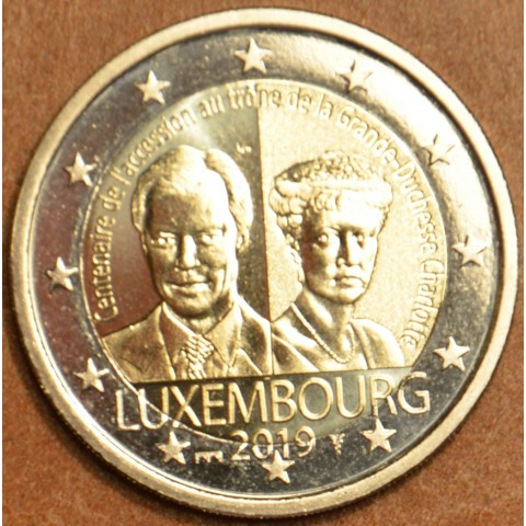 """2 Euro Luxembourg 2019 - 100 years of the arrival on the throne and marriage of G. D. Charlotte (BU with """"bridge"""" mintmark)"""