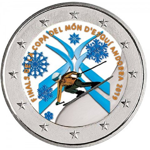 2 Euro Andorra 2019 - Alpine skiing World Cup Finals Andorra II. (colored UNC)