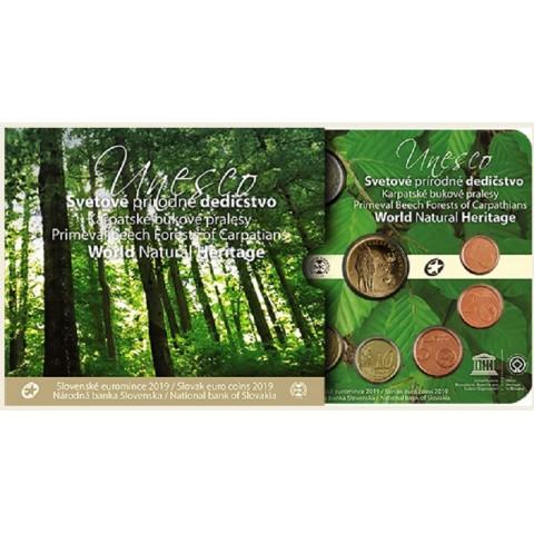 Set of 8 Slovak coins 2019 Primeval Beech Forests of the Carpathians (BU)