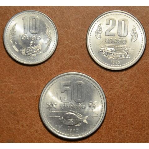 Laos 3 coins 1980 (UNC)
