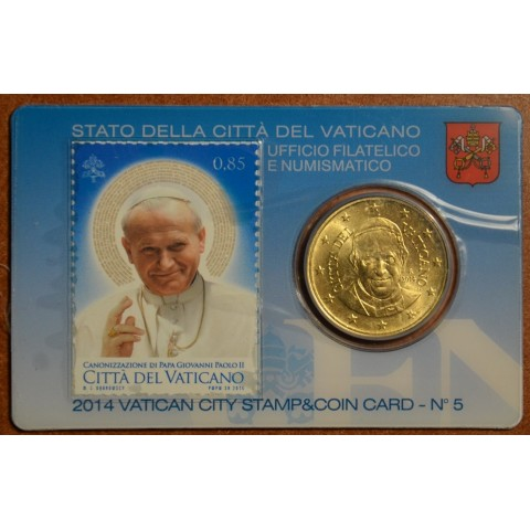 50 cent Vatican 2014 official stamp and coin card No. 5 (BU)
