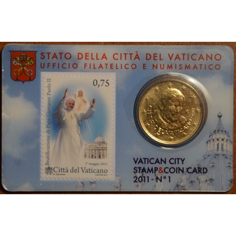 50 cent Vatican 2011 official stamp and coin card No. 1 (BU)