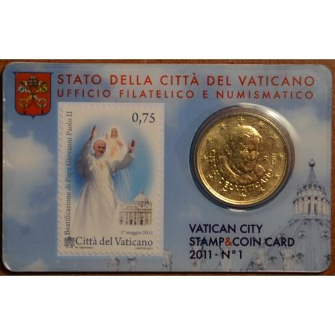 50 cent Vatikán 2011 oficiálna známková a mincová karta No. 1 (BU)