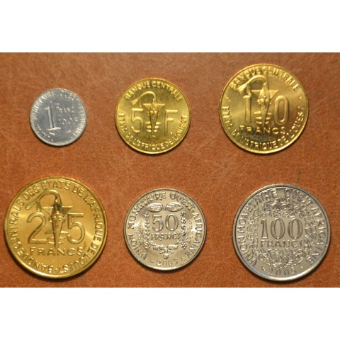 West African CFA frank 6 coins 1995-2003 (UNC)