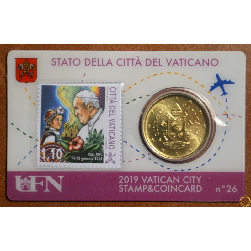 50 cent Vatican 2019 official coin card with stamp No. 26 (BU)