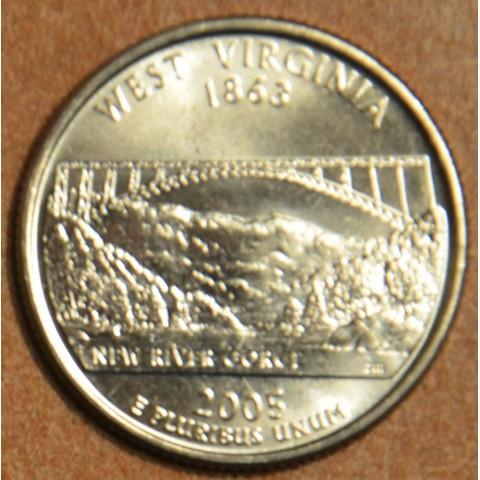 """25 cent USA 2005 West Virginia """"D"""" (UNC)"""