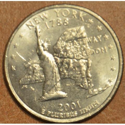 """25 cent USA 2001 New York """"D"""" (UNC)"""