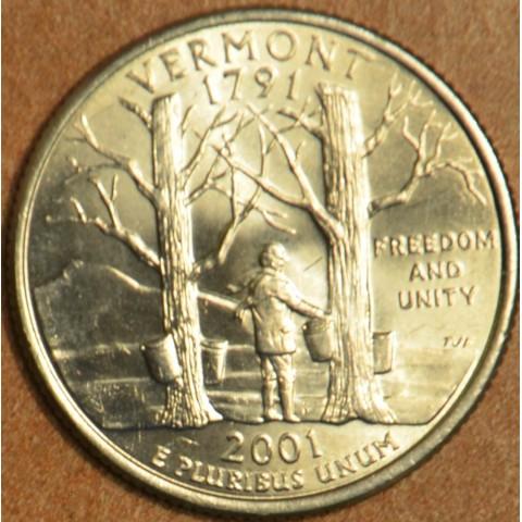 """25 cent USA """"D"""" 2001 Vermont (UNC)"""
