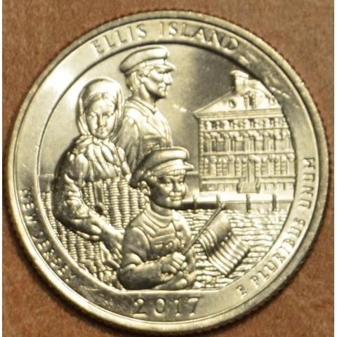 """25 cent USA 2017 Ellis Island """"D"""" (UNC)"""
