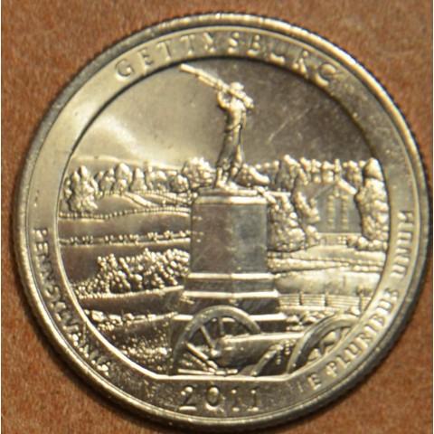 """25 cent USA """"D"""" 2011 Gettysburg (UNC)"""