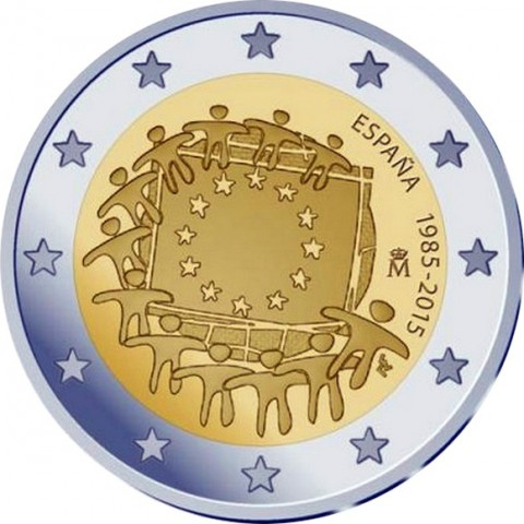 2 Euro Spain 2015 - 30 years of European flag (UNC)