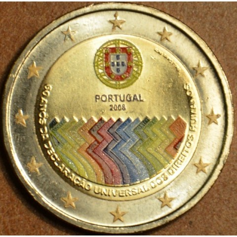 2 Euro Portugal 2008 - 60th anniversary of the Universal Declaration of Human Rights (colored UNC)