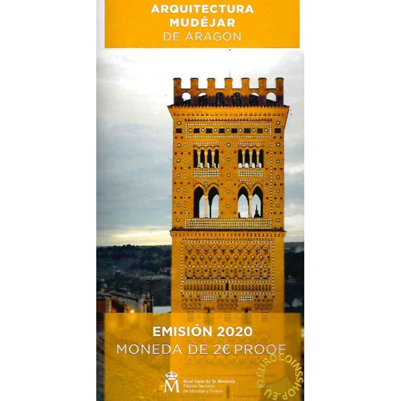 2 Euro Spain 2020 - Mudéjar Architecture of Aragon (Proof)