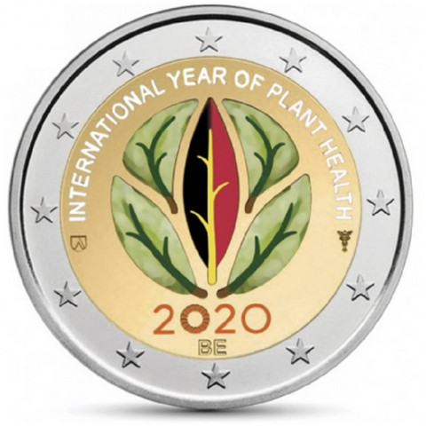 2 Euro Belgium 2020 -  International Year of Plant Health (colored UNC)