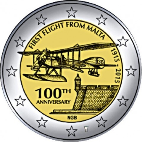 2 Euro Malta 2015 - First flight  (BU card)