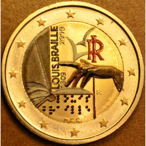 2 Euro Italy 2009 - 200th Anniversary of birth of Louis Braille II (colored UNC)