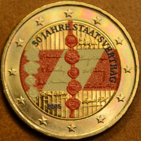 2 Euro Austria 2005 - 50th anniversary of the Austrian State Treaty (colored UNC)