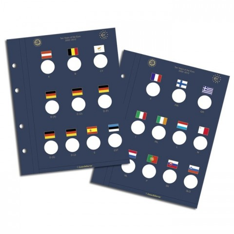 2 sheets into Leuchtturm Vista albums for 2 Euro coins 2012 TYE