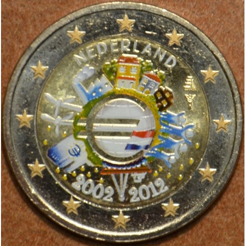 2 Euro Netherlands 2012 - Ten years of Euro  (colored UNC)