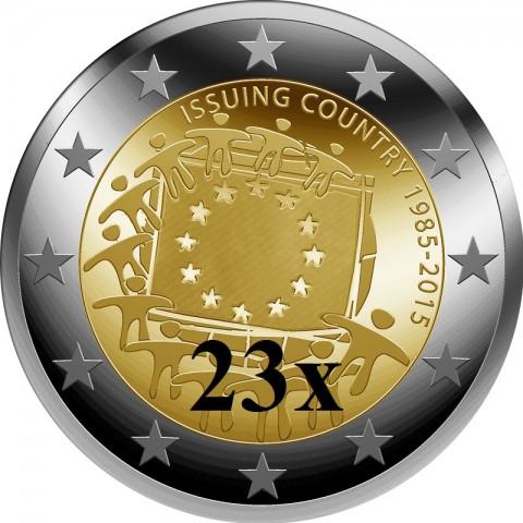 2 Euro všetky mincovne 2015 - 30 rokov Europskej vlajky  (23xUNC)