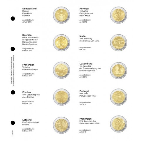 Lindner listy do albumu 2 Euro mincí 2015 I.  (Január - júl)