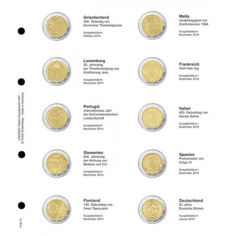 Lindner listy do albumu 2 Euro mincí 2014 III.  (Október - január 2015)