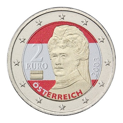 2 Euro Austria - Bertha von Suttner (colored UNC)