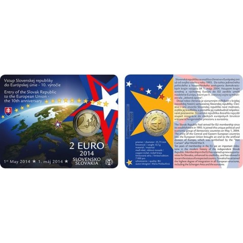 2 Euro Slovakia 2014 - Coin card 10 years in EU (UNC)