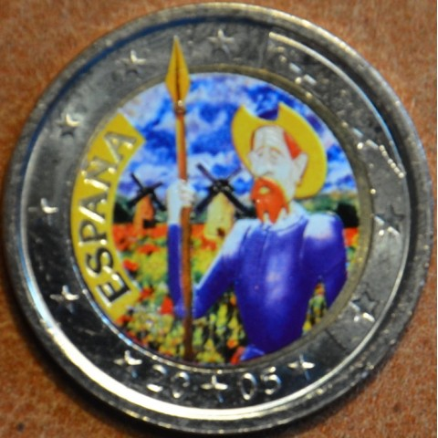 2 Euro Spain - 4th centenary of the first edition of Cervantes' The ingenious gentleman Don Quixote II. (colored UNC)
