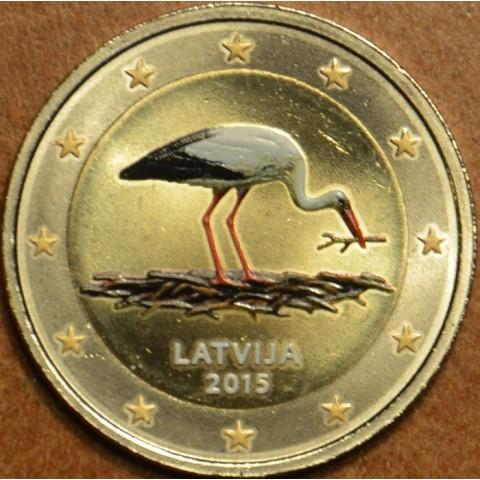 2 Euro Latvia 2014 - Black stork II. (colored UNC)