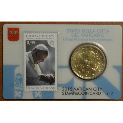 50 cent Vatican 2015 official coin card with stamp No. 7 (BU)