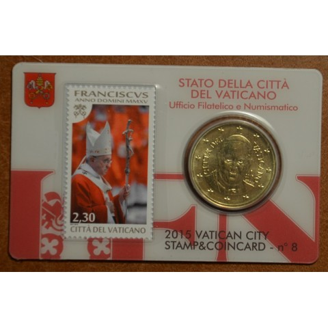 50 cent Vatican 2015 official coin card with stamp No. 8 (BU)