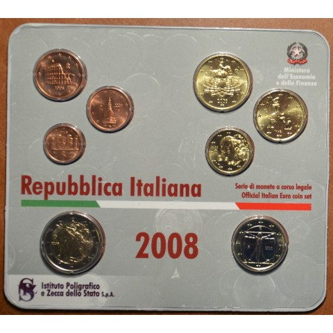 Official set of 9 Italian coins 2008  (BU)