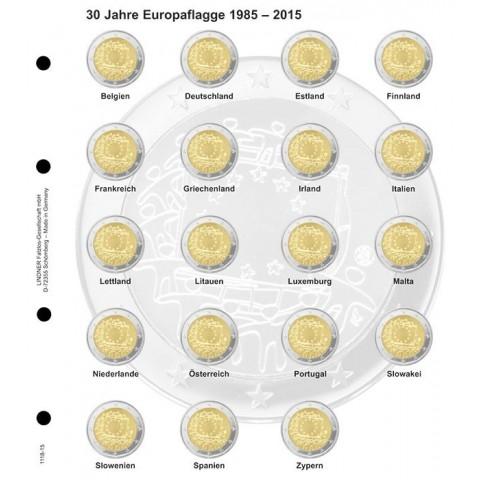 Lindner listy do albumu 2 Euro mincí strana 15. - 30 rokov vlajky EU 2015