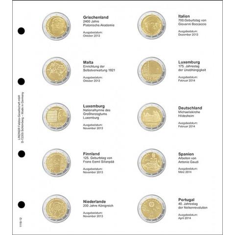 Lindner listy do albumu 2 Euro mincí strana 12. (Grécko 2013 - Portugalsko 2014)