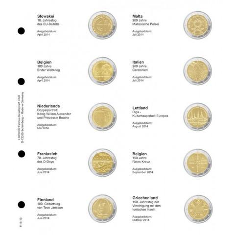Lindner listy do albumu 2 Euro mincí strana 13. (Slovensko 2014 - Grécko 2014)