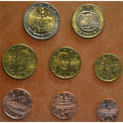 Set of 8 eurocoins Greece 2007 (UNC)