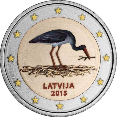 2 Euro Latvia 2014 - Black stork III. (colored UNC)