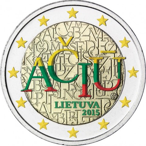 2 Euro Lithuania 2015 - Aciu: lithuanian language II. (colored UNC)