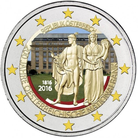 2 Euro Austria 2016 - 200 years of Austrian National Bank IV. (colored UNC)