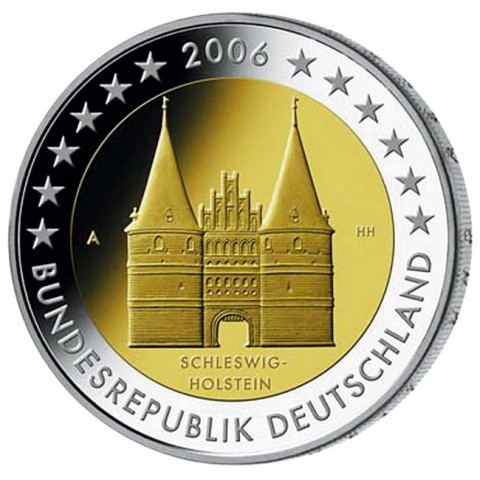 """2 Euro Germany """"J"""" 2006 - Holstentor in Lübeck / Schleswig-Holstein (UNC)"""