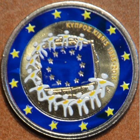 2 Euro Cyprus 2015 - 30 rokov Europskej vlajky III. (farebná UNC)