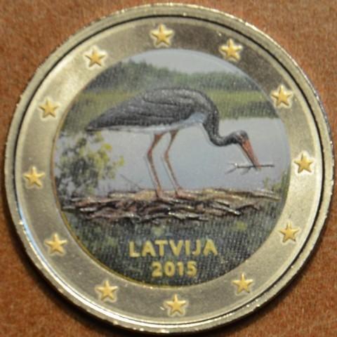 2 Euro Latvia 2014 - Black stork IV. (colored UNC)