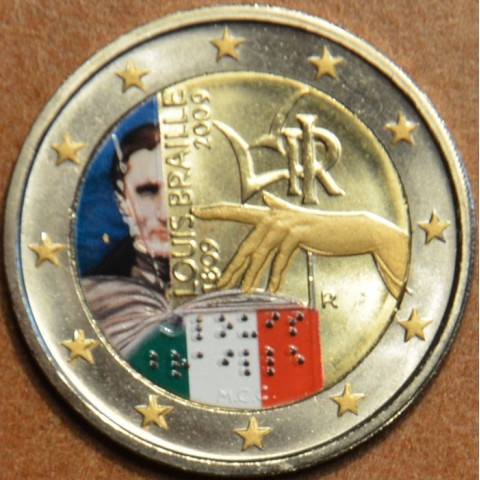 2 Euro Taliansko 2009 - 200. výročie narodenia Louisa Brailla II (farebná UNC)