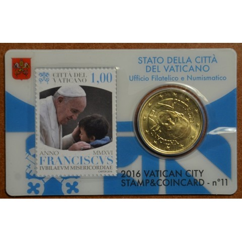 50 cent Vatican 2016 official coin card with stamp No. 11 (BU)