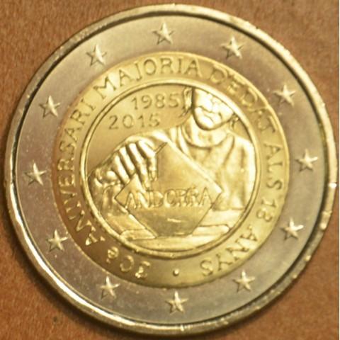 2 Euro Andorra 2015 - 30. výročie stanovenia veku plnoletosti (UNC)