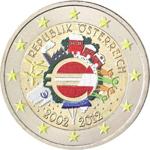 2 Euro Austria 2012 - Ten years of Euro II.  (colored UNC)