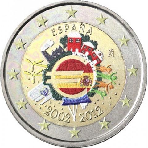 2 Euro Spain 2012 - Ten years of Euro II.  (colored UNC)